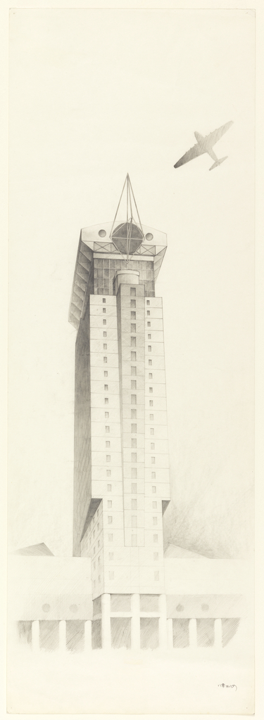 Tall, slim building, lined with windows; glass structure at the top, with triangular tower. Airplane flies by.