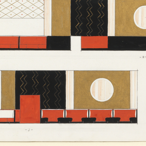 Four elevations of a restaurant in red, gold, black and white. In graphite, lower left: SCHEME I / PROPOSED DECORATION FOR / MIKE LYMAN'S RESTAURANT / 424 W. SIXTH ST, LOS ANGELES.
