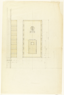 """Drawing of a drop box that reads: US MAIL / LETTER BOX. Elevation and side view; with scale: 3"""" = 1'-0""""; 3"""" = 1'"""