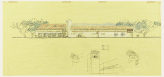 Exterior of elongated building with white walls and red roof, flanked by trees. Lower margin, graphite sketched details of buildings.