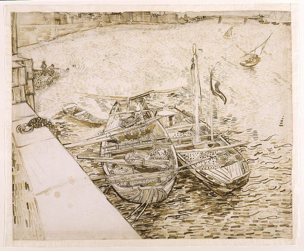 Drawing, Bateaux de sable à quai (Sand Barges Moored at the Quay), Arles