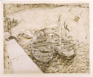 Drawing, Bateaux de sable à quai (Sand Barges Moored at the Quay), Arles