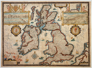 In the center, the British Isles, and at either side frames views of London and Edinburgh.  Royal arms and seal included.  Lower left, scale of miles in a frame ornamented with putti.  Verso:  two pages from book in which map was published.