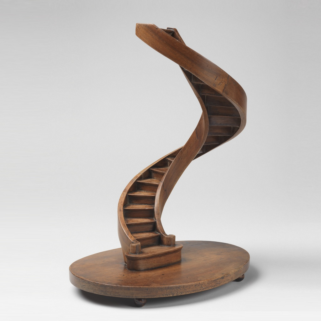 Spiral staircase model with curved stringboards, on a circular base on bun feet.  This style was popularized by the important master of compagnonnage Agricole Perdiguier.