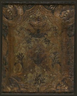 Prominent framework with scalloped ends, ornamented with bellflowers, enclosing scrolled framework with trellis work, along with fruit, flowers, and confronted birds. Portion of a slightly larger panel, in varnished silver, blue, and green.