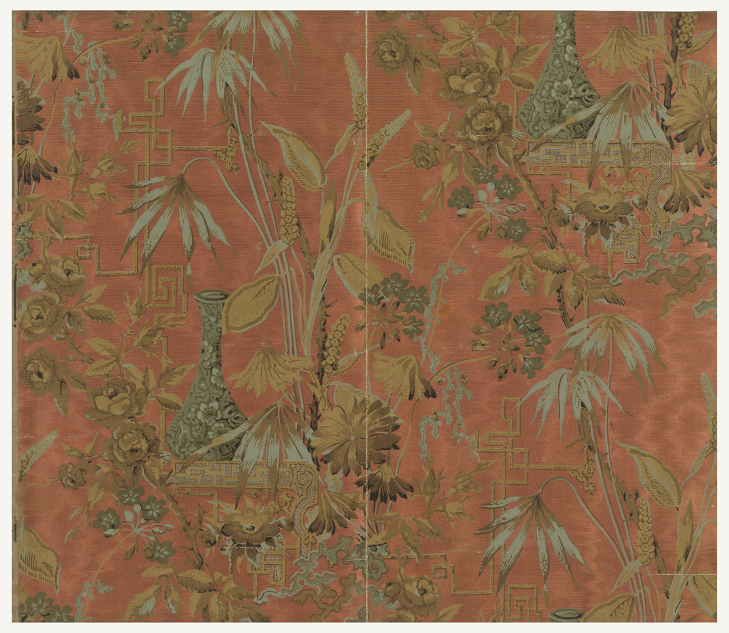 Complete width. Vertical rectangle with design in Anglo-Japanesque-style, of roses and other plants, vases and strapwork. Printed in greens, olives and greenish-brown on a metallic copper ground with ribbed texture imitating moire.