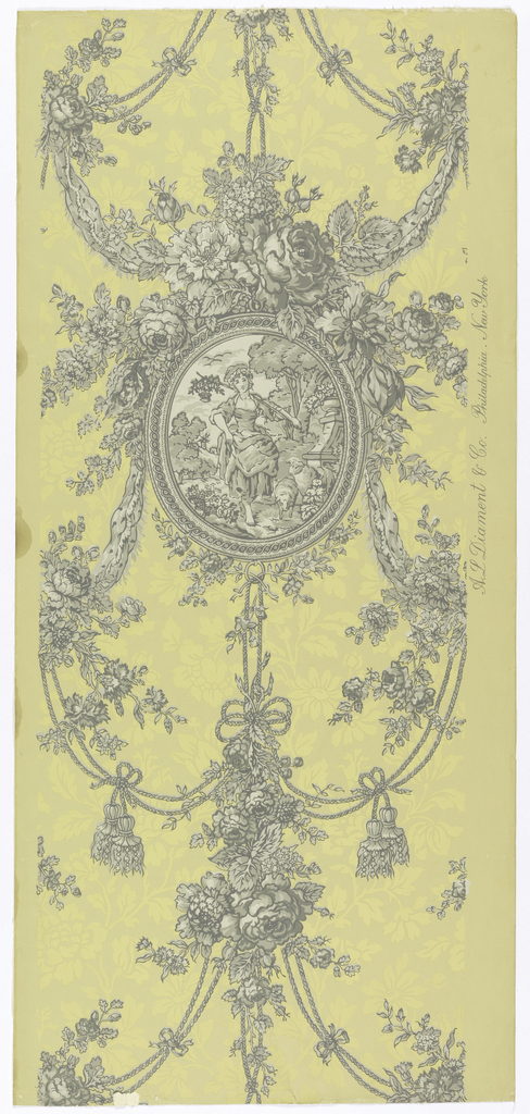 """A reproduction of a French wallpaper printed by Zuber. An oval plaque containing a pastoral scene of a dainty barefoot shepherdess carrying her staff over one shoulder with a basket of flowers suspended from the end. Two lambs are at her feet and a garden wall is at the right. The frame of plaque has an ornate design and is suspended from lavish floral sprays and festooned cords and tassels together with swags of ribbons. All arranged in a drop repeat. The field has an asymmetrical design of flowers in pale mustard gold on a deeper shade. All other portions printed in grisaille. Printed in selvedge: """"A.L. Diament, Phila., N.Y."""" In style of 1820-30."""