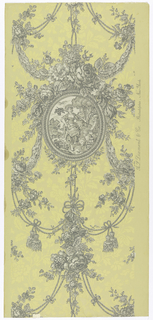 "A reproduction of a French wallpaper printed by Zuber. An oval plaque containing a pastoral scene of a dainty barefoot shepherdess carrying her staff over one shoulder with a basket of flowers suspended from the end. Two lambs are at her feet and a garden wall is at the right. The frame of plaque has an ornate design and is suspended from lavish floral sprays and festooned cords and tassels together with swags of ribbons. All arranged in a drop repeat. The field has an asymmetrical design of flowers in pale mustard gold on a deeper shade. All other portions printed in grisaille. Printed in selvedge: ""A.L. Diament, Phila., N.Y."" In style of 1820-30."