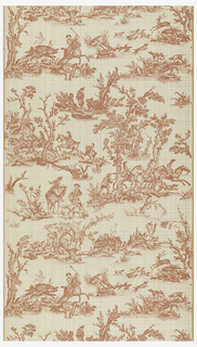 Toile de Jouy paper. Provincial scenes of horsemen hunting boars and stags. A small village is shown, another group shows these men gathered about a keg of wine or beer. Also shown are a huntsman, surrounded by hounds, sounding his horn and a rider inquiring his way from a farmer; printed in pinkish-red on light beige, plaid ground.