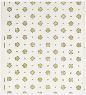 White ground. Drop repeating rows of gold foliate medallions alternating with smaller drop repeating gold foliate sprigs.