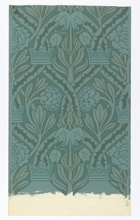 Interlaced bands, twisting around stems bearing large conventionalized flowers, arranged symmetrically on center axis. Crowns superimposed at points of crossing. Shades of greenish blue and olive. In right selvedge: Rd 307951 Regd. 307956. Straight repeat and match.