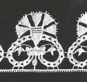 Border composed of stylized heart-shaped forms. Taken from design by PARASOLE in 1597.