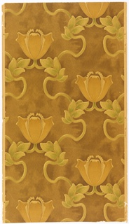 "Art nouveau style. On mottled brown ground conventionalized tulip-like flowers connected with curving leafy stems. Drop repeat, straight match. On right margin: ""Rd. 482811."""