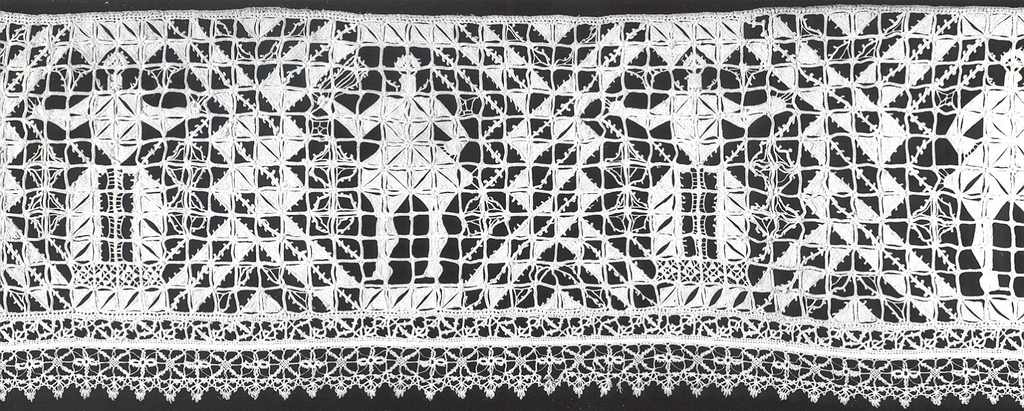 A row of intertwining hexagons enclosing alternating male and female figures. Geometric edging on three sides.