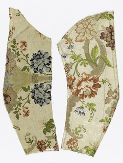 fragments of floral and polychrome pattern on cream.