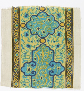 Border design of floral motifs, in style of Hispano-Arabic tile, printed in blues, yellow and orange.