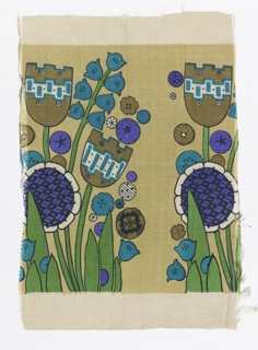 Border design of stylized tulips and flowers, printed in light browns, green, purple, blue and black.