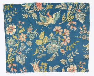 Silk satin textile in turquoise blue, printed with birds and flowers in tans, gold, pink and red.