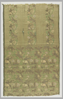 Pale salmon pink satin showing deep horizontal borders with hunters, birds, and animals among flowers and separated by guard borders. In the upper part, three spaced stripes formed by floral serpentine on which hunters pursue leopards, and rise from the horizontal bands. Metallic thread, green, rose, pink and coral flosses in long floats or wide twill tie. Two broad warp twill selvages with green to white pencil stripes.
