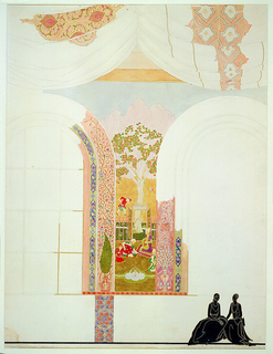 Between two windows, a scene in a Persian garden, rendered in the manner of a Persian miniature.  Figured curtains hang from the ceiling.  Lower right, overlay in black and white of two ladies in evening dress.
