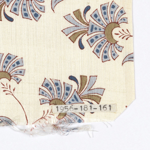 Silk textile printed with pattern of stylized floral sprays in brown, olive green, and two blues on a white ground.