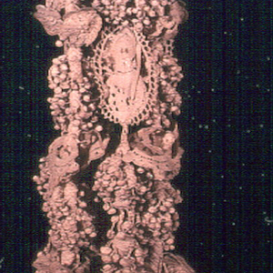Long linen tassel, braided and knotted, with bobbin lace. Loop attached to long cord, terminating in pear-shaped unit which is completely covered with tiny knottings and from which are suspended six long design elements of tiny knots alternating with bobbin lace medallions, floral petals, and leaves.