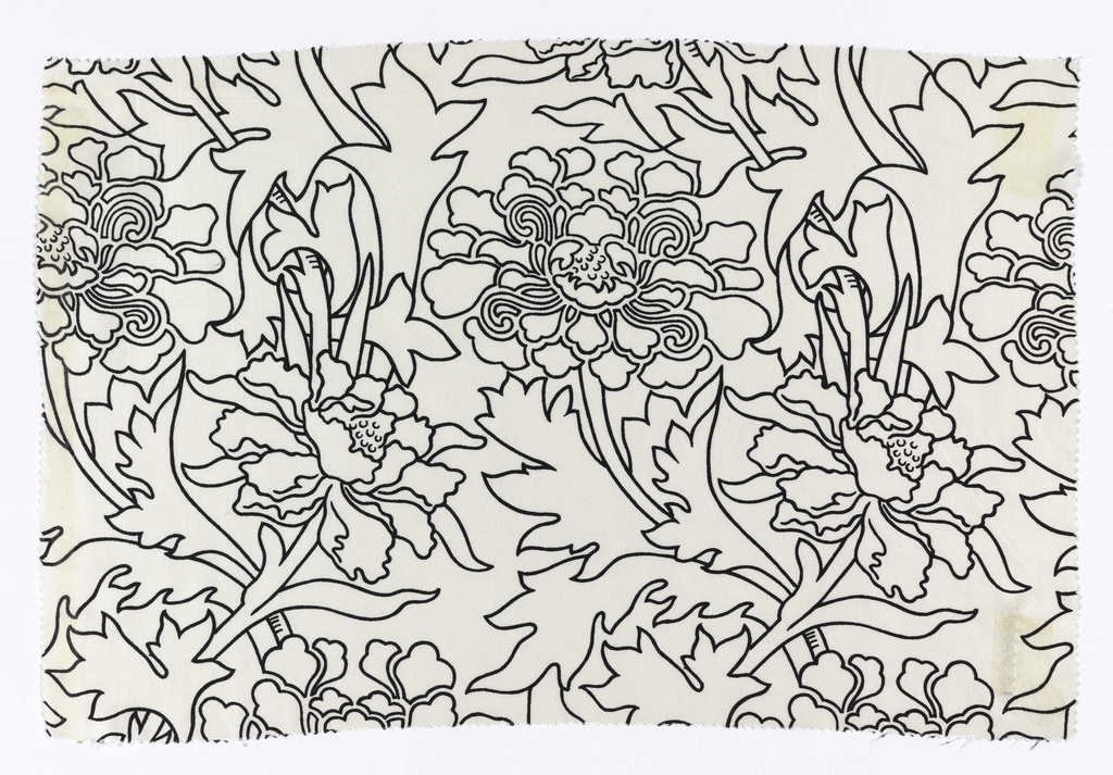 Incomplete design of large scale flowers and foliage in black outline on white.