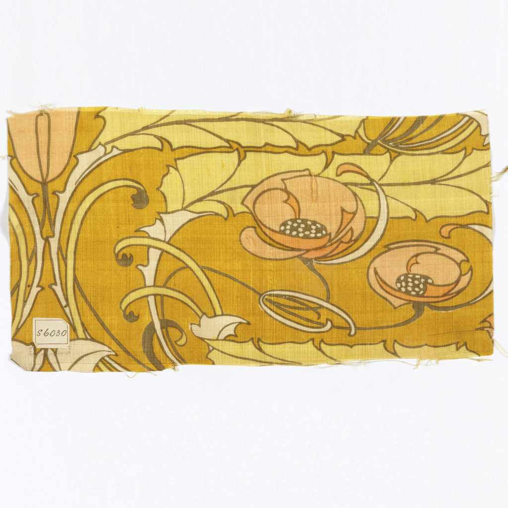 Fragment of woven silk printed with design of poppies and leaves with flowing stems.
