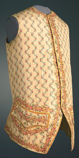Gentleman's ivory silk waistcoat with an all-over painted pattern of small pink flowers on a blue curving vine, with a border of roses on a yellow lattice at the neck edge, center front, lower edge, and pockets.