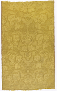 Length of yellow damask: vertically symmetrical pattern created by a straight repeat [every other row conterfaced] with a flowering stem MA diagonal filling the unit.