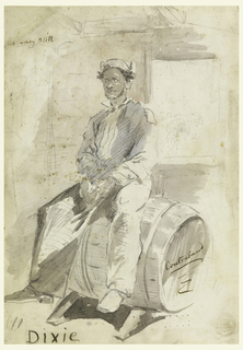 Vertical view of the interior of a shed with an African American male sitting on a barrel with a view through a window of what appear to be women carrying heavy loads.