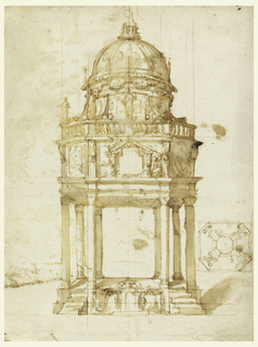 Drawing of elevation and plan. An octagonal pavilion, to which flights of stairs lead on the oblique sides. Straight ceiling and entablature. An attic, for the decoration of which alternative suggestions are made. Statues stand on the left side of a balustrade, before the drum of a dome. On verso: pen sketches; a plan, a motif for the base.