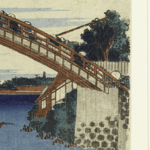 Woodcut depicts a landscape featuring a bridge that traverses the entire view with people walking across it. Below, a body of water with a scattering of boats and a loan figure fishing in lower right corner. In the distance, snow-covered Mt. Fuji and two pagodas in silhouette. Upper left, Japanese characters.
