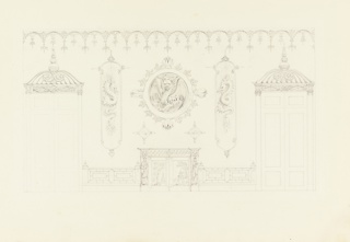 Horizontal rectangle. Design for the Royal Pavilion, Brighton. Elevation of a wall, with a mantelpiece in the center, flanked by two doorways. Over the mantelpiece are painted circular and upright panels containing dragons. Columns with lotus-shaped capitals ornament the sides of the doorways, and a carved entablature above them. Carved cornice above.