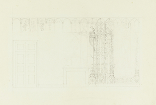 Horizontal rectangle. Design for the Royal Pavilion, Brighton. Elevation of a wall, with a mantelpiece in the center and a doorway at the left. Detail of wall decoration at right of mantelpiece shows a painted design of latticework and narrow columns with foliated shafts, and a column entwined by a dragon. Frieze of niches above contain trophy designs.