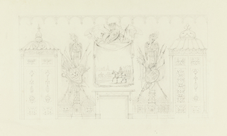Horizontal rectangle. Design for the Royal Pavilion, Brighton. Elevation of a wall, with a mantelpiece in the center, flanked by two doorways. Over the mantelpiece appears the painted representation of a banner on which is shown a cavalry group. Trophies above and on either side are representations of columns and trophies of military connotation, and dragons above. Doorways with carved and painted decoration.