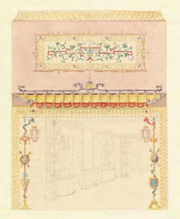 Drawing, Design for the Corridor to the Chinese Gallery, Royal Pavilion, Brighton