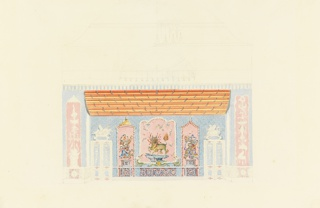 Wall decoration consisting of three painted panels: a dragon horse in center panel, flanked by narrower panels containing figures of demon-chasers in motion. Bamboo ceiling above. The domed ceiling is indicated in outline, with fish-scale motif.