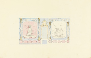 Horizontal rectangle. Design for the Royal Pavilion, Brighton. Elevation of the west wall, with two large painted panels of Chinese lions flanking the fireplace. The panels are, in turn, flanked by columns entwined by serpents. Other detail and section of wall are sketched in or indicated by outline, in graphite.