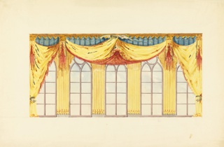 Elevation of a wall, showing a design for the decoration of the five windows.  Swags of yellow and crimson drapery are upheld at the center by a flying dragon and tied at the sides by serpents. The intervening piers between the windows are covered by fluted drapery in yellow. Cornice in blue and gold.