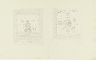 Elevation of a wall, with a mantelpiece indicated in the center. The walls to left and right are covered by painted panels, contained in wide decorative borders. At left, a seated Chinese lion and fling dragons. At right, a Chinese lion within a circular pendant and flying dragons.