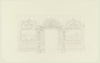 Elevation of a wall, with a doorway in the center, flanked on either side by pairs of columns with foliated shafts. Overdoor consists of a lunette of birds, enclosed in a wide decorative border. Candelabrum with fluted shafts entwined by serpents is beside the doorway. The walls have paintings of Chinese landscapes with figures in elaborate frames.