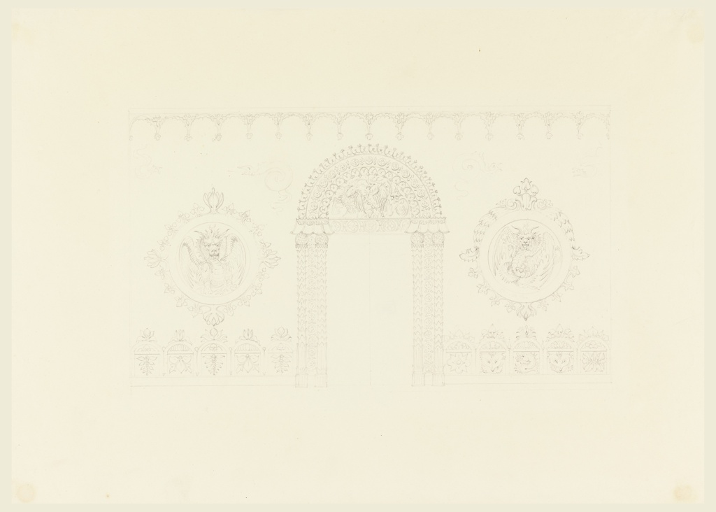 Drawing, Design for Entrance Hall, East Wall, Royal Pavilion, Brighton