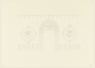 Elevation of a wall, with a doorway in the center, flanked on either side by pairs of columns with foliated shafts. Overdoor consists of a lunette of birds, enclosed in a wide decorative border. The wall areas, left and right, bear circular panels with winged dragons. Dado, left, stylized leaves. Alternate design, right, leaves, dragon heads, and dragon.