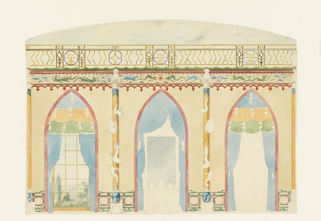 Drawing, Design for Wall with Three Gothic Arches, Royal Pavilion, Brighton