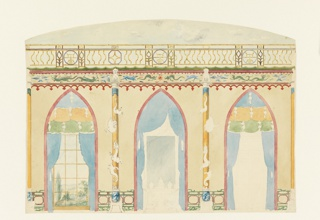 Elevation of a wall, with the three divisions of window (left), fireplace (center), and door (right), enclosed within painted arched compartments hung with drapery. Columns with encircling dragons occupy the spaces between the openings. Bird and dragon frieze above. Ceiling of clouded sky and balustrade indicated above.