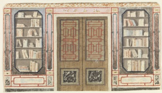 Elevation of a wall, with a wide doorway in the center. The walls to left and right contain bookcases.