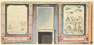 Elevation of a wall, with a fireplace at center, and walls to left and right containing large painted panels of Chinese scenes.