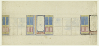 Elevation of a long wall, with a pair of windows at left, and a group of three at right. Narrow panels with neutral fields, as well as panels with Chinese scenes between them. Panels above windows and cornice above not filled in.