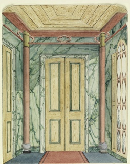 Vertical Rectangle. Design for the Royal Pavilion, Brighton. Perspective view of the end of a corridor, with a doorway flanked by half-round columns on the wall facing the spectator, a section of another doorway visible on wall at the left, a long window on wall to the right. A greed marbleized design covers the walls. Brilliant virtuoso marbling.  Original album associated with this collection still exists.  See 1948-40-1 accessory